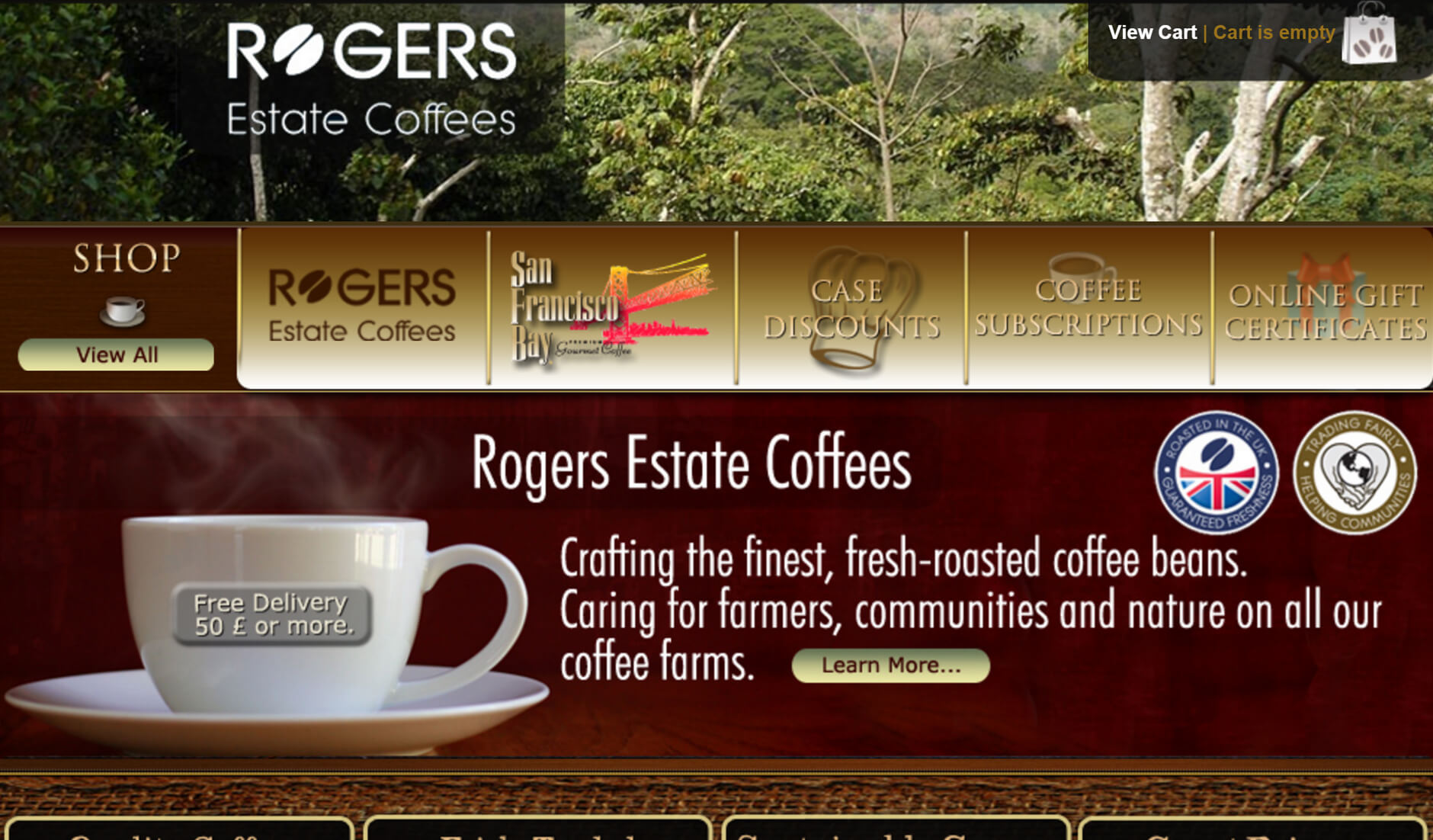 Rogers Estate Coffees website design by Janieart.com