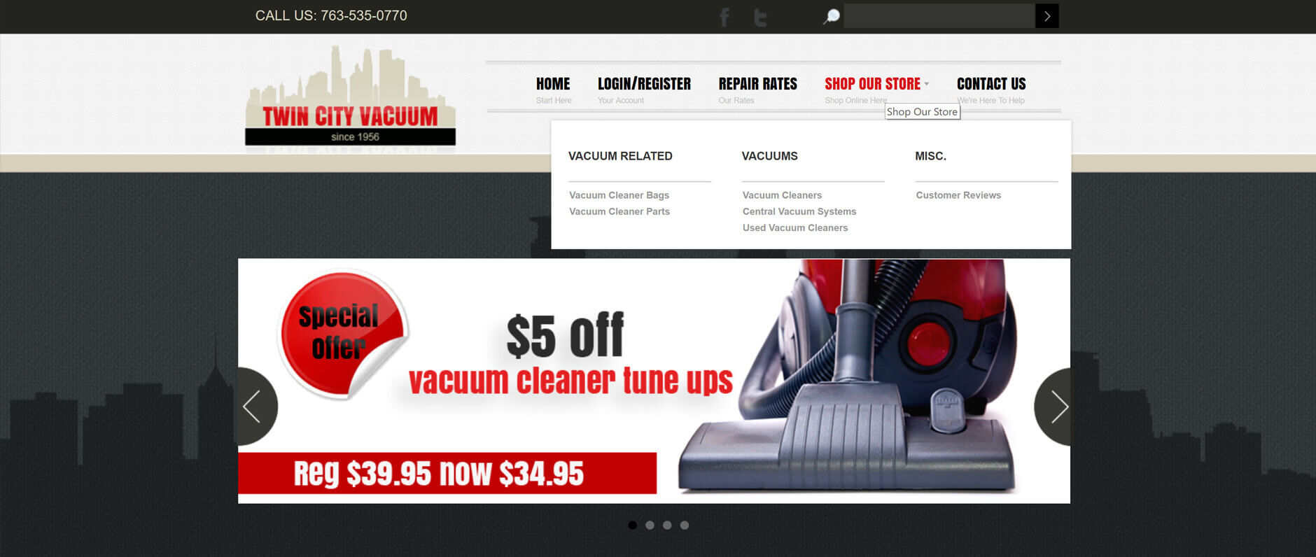 Twin City Vacuum E-Commerce Website By: Janieart.com